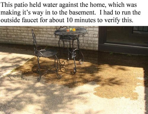 Poorly pitched patio