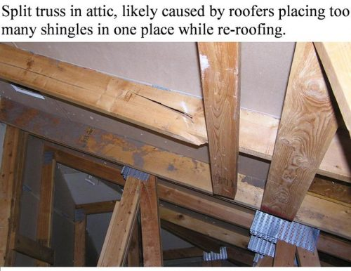 cracked roof truss