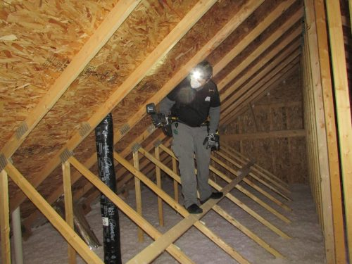 Attic inspection with Dustin