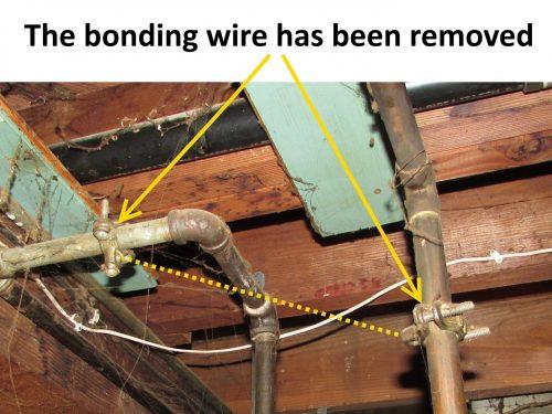 Bonding strap removed