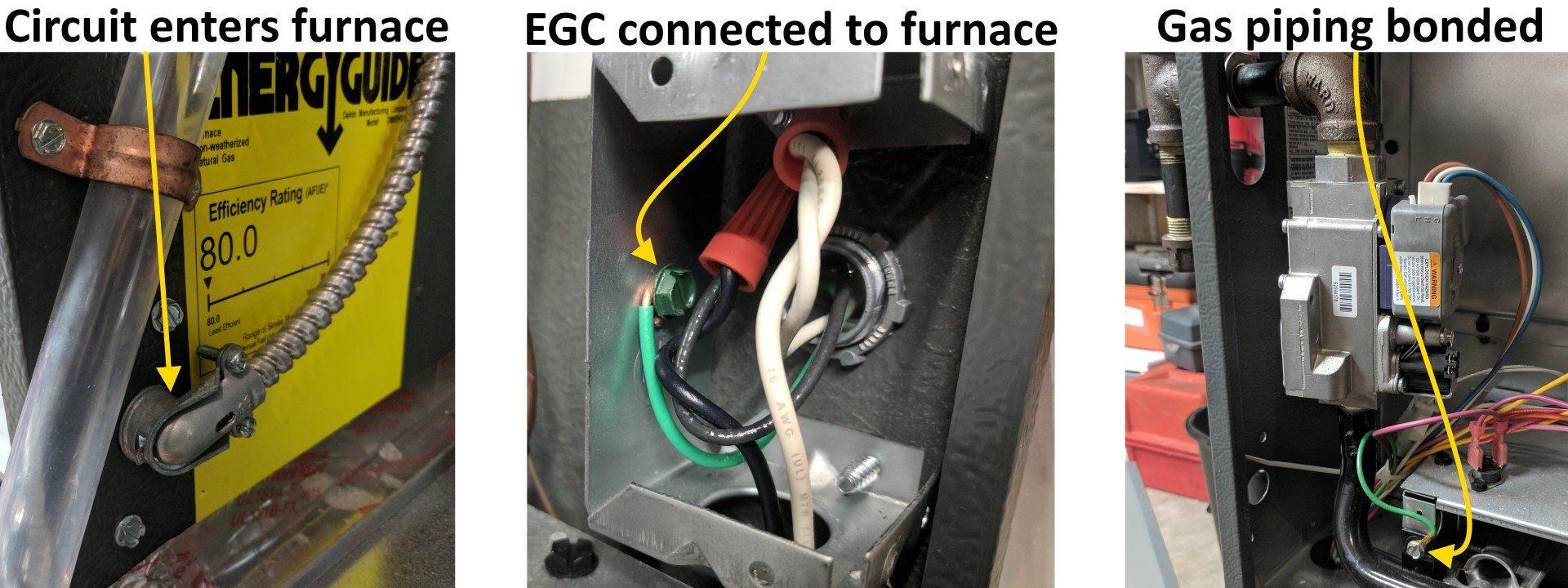 Gas piping bonded at furnace