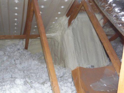 Spray foam at skylight shaft 3
