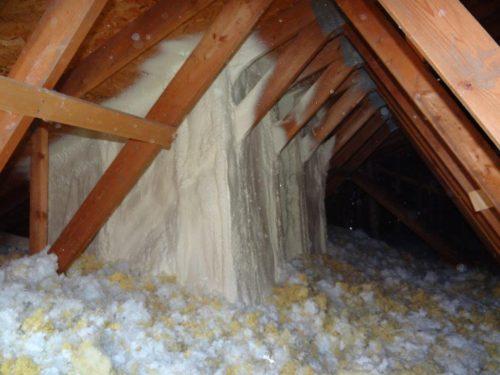 Spray foam at skylight shafts