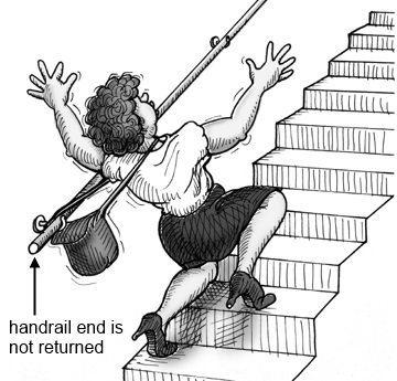 Handrail end not returned