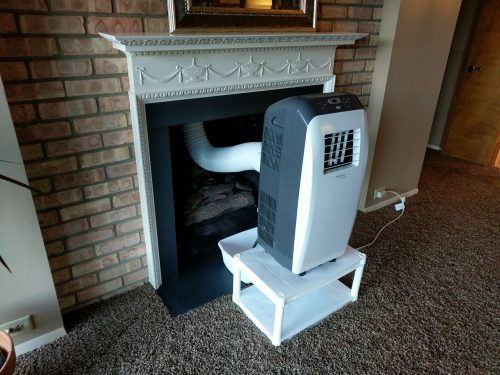 room air conditioner vented into fireplace