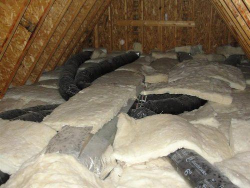 Botched fiberglass batts in attic