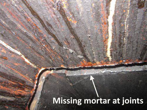 Missing mortar at joints