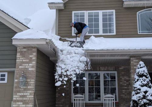 Shovel snow off roof