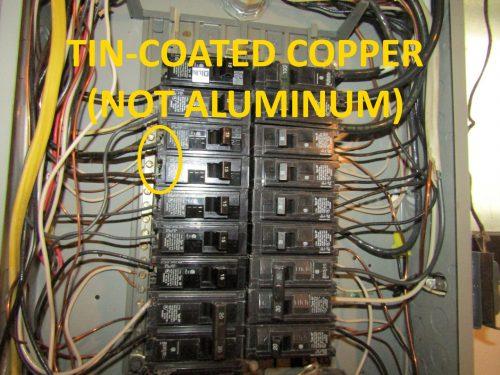tin-coated copper (not aluminum)