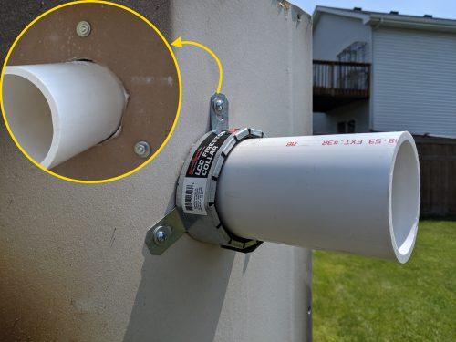 Firestop collar properly installed