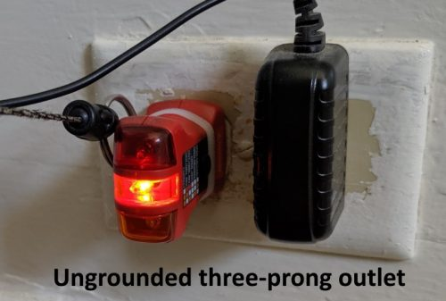Ungrounded three-prong outlet