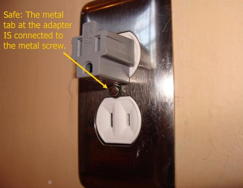 safe two-prong adapter use
