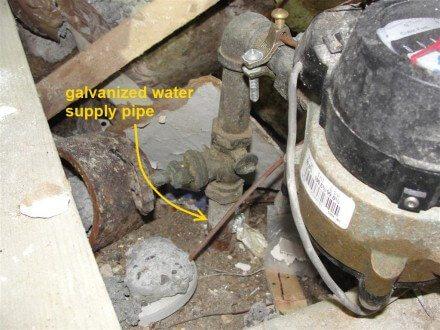 Galvanized water supply pipe