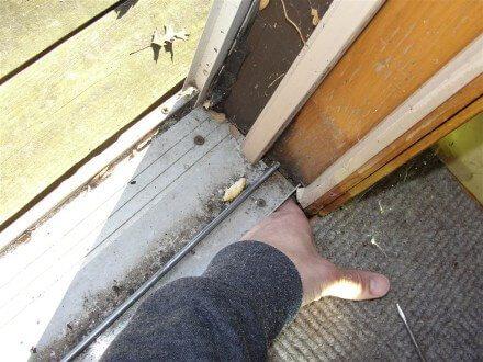 Rotted patio door floor