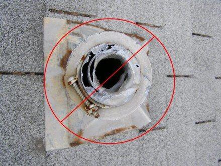Caulk at damaged plumbing cap