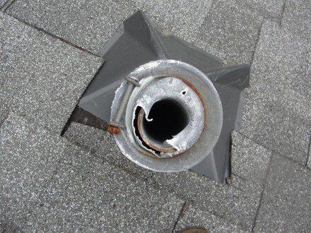Damaged plumbing vent cap 3