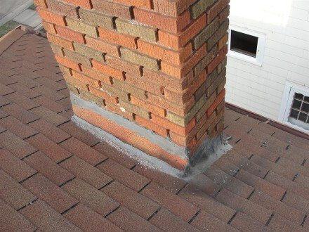 Improperly flashed chimney