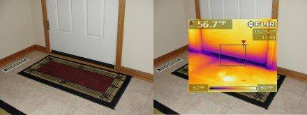 Leaking door with IR overlay