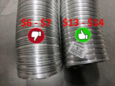 Listed vs. Unlisted semi-rigid transition ducts