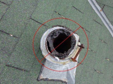 Tar at damaged plumbing cap