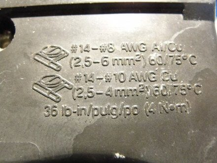 Text on side of Square D Homeline circuit breaker