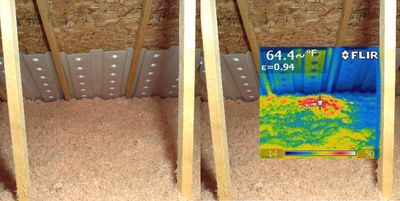 Recessed Light in attic with IR overlay