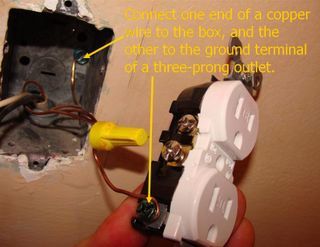 Grounding a three-prong outlet to a box