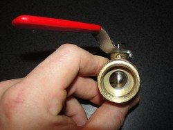 Ball valve halfway open