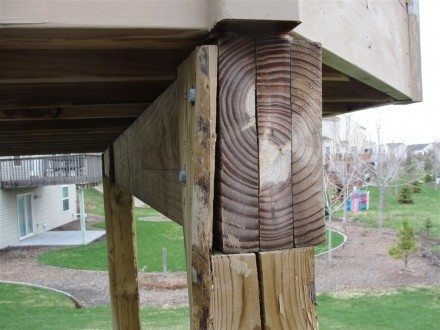 Decks - improper beam attachment at post