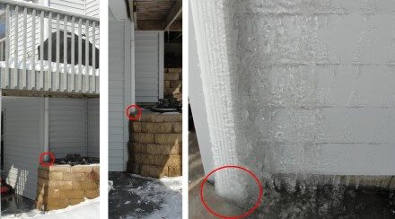 Downspout with ice backing up