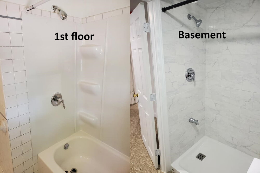 Either one of these photos alone wouldn't have been that weird, but they were taken at the same house. The basement shower had a tub spout, but the first floor bathtub did not.