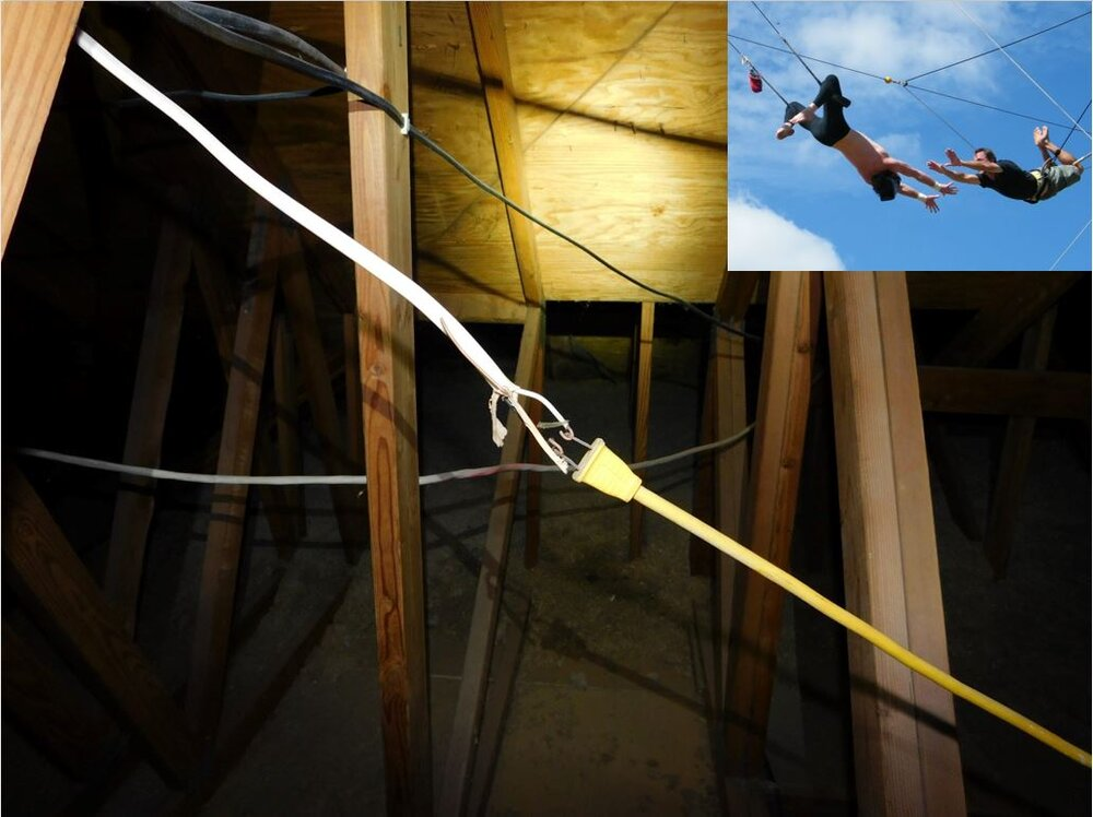 Only the boldest, most daring DIYers will attempt the flying trapeze electrical splice.