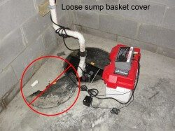 Loose sump basket cover
