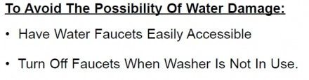 Warning from Maytag washing machine user manual