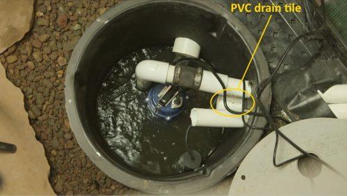 PVC drain tile in sump basket