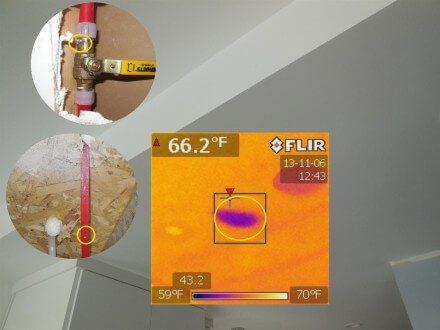 Plumbing - leak identified with IR camera