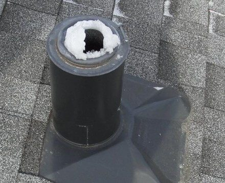 Plumbing vent frost forming - three inch steel