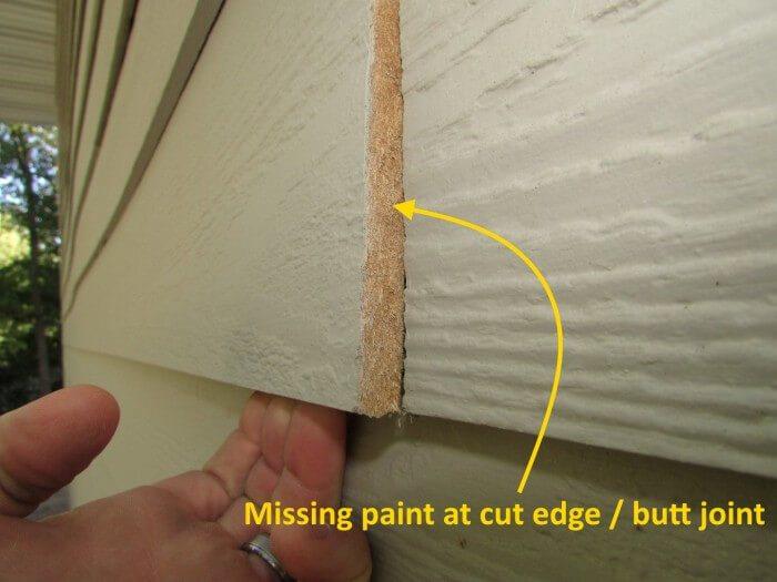 Unpainted cut edge