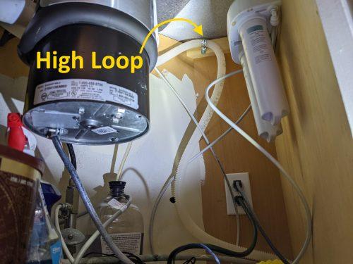 Dishwasher drain high loop