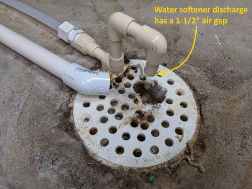 Water softener air gap